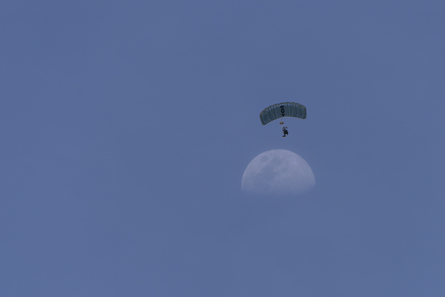 'Parachutist and Moon' (Jul 2018) - Marina Boulevard, Singapore